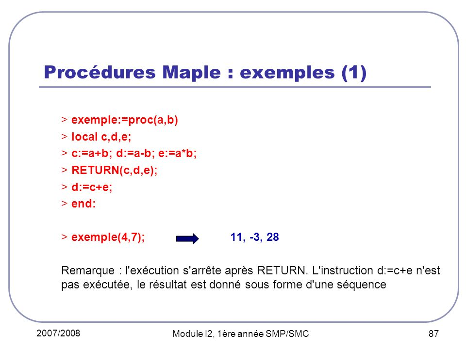 Procédures Maple : exemples (1)