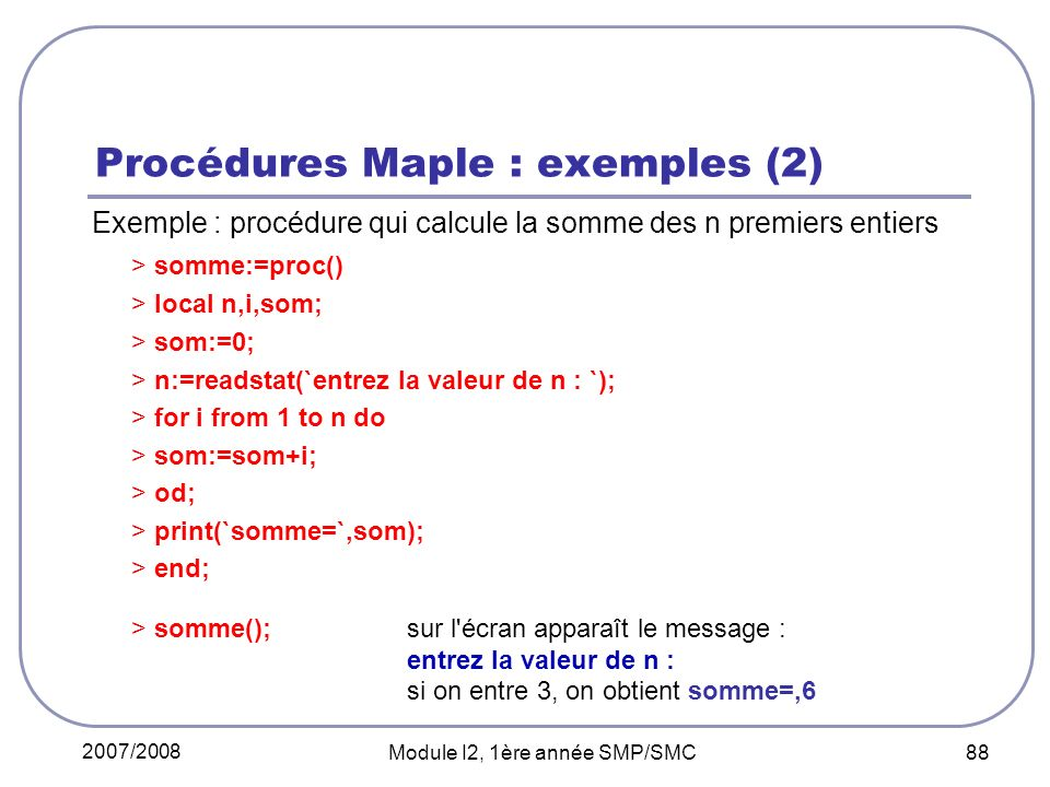 Procédures Maple : exemples (2)
