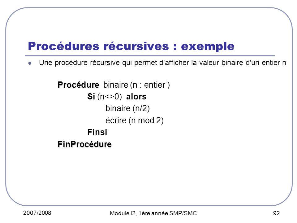 Procédures récursives : exemple