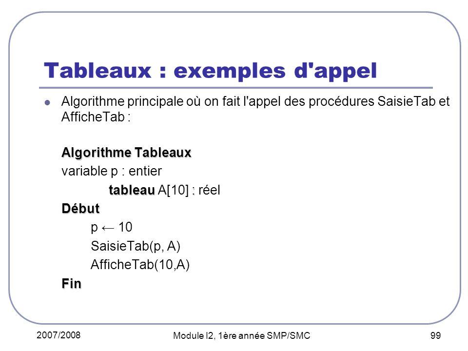 Tableaux : exemples d appel
