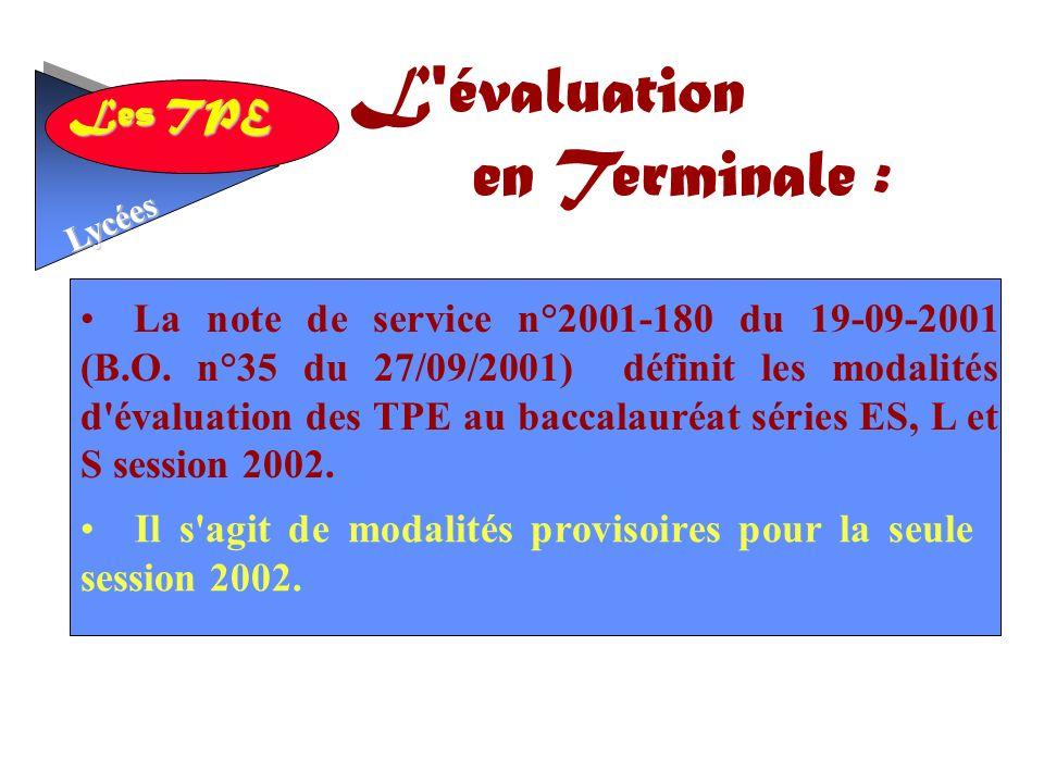 L évaluation en Terminale :