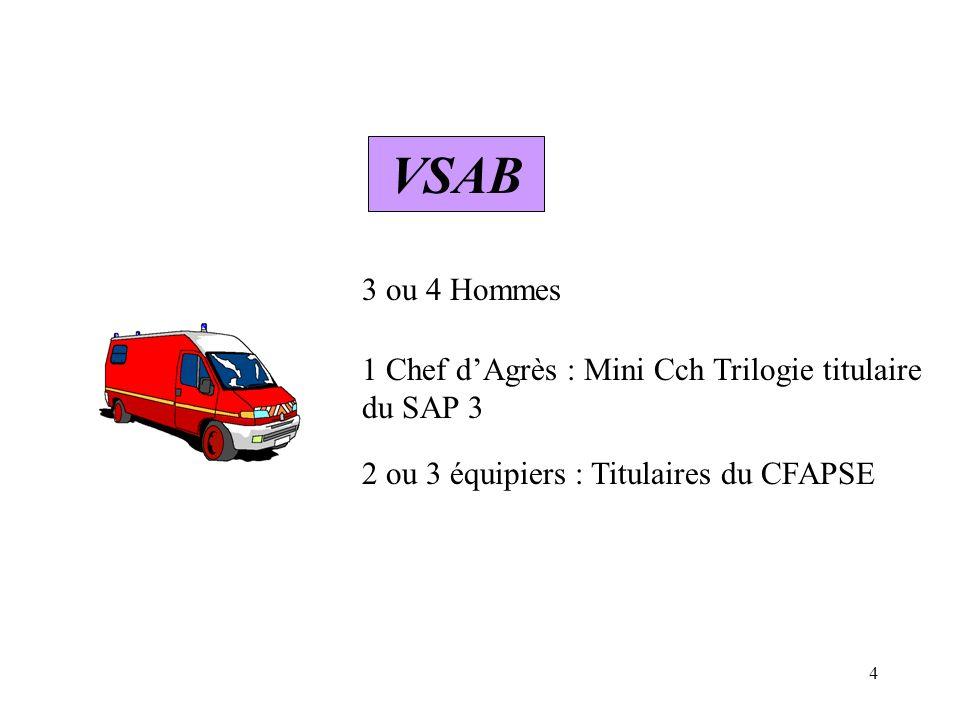 VSAB 3 ou 4 Hommes. 1 Chef d'Agrès : Mini Cch Trilogie titulaire du SAP 3.