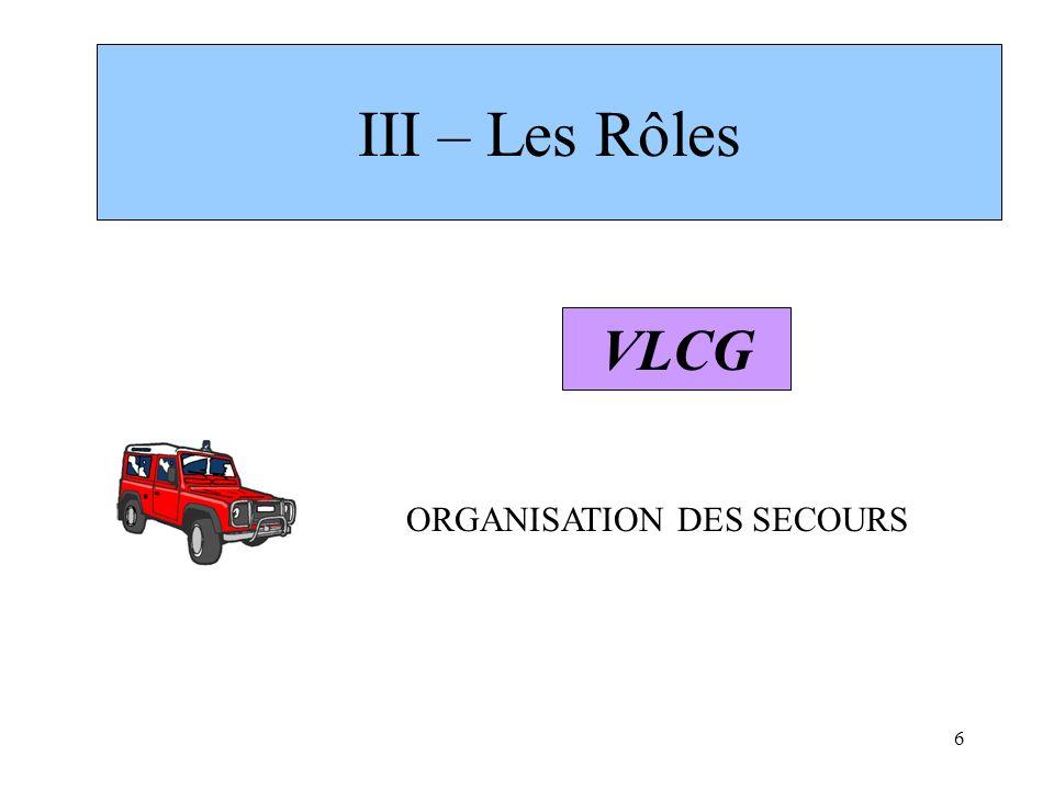 III – Les Rôles VLCG ORGANISATION DES SECOURS