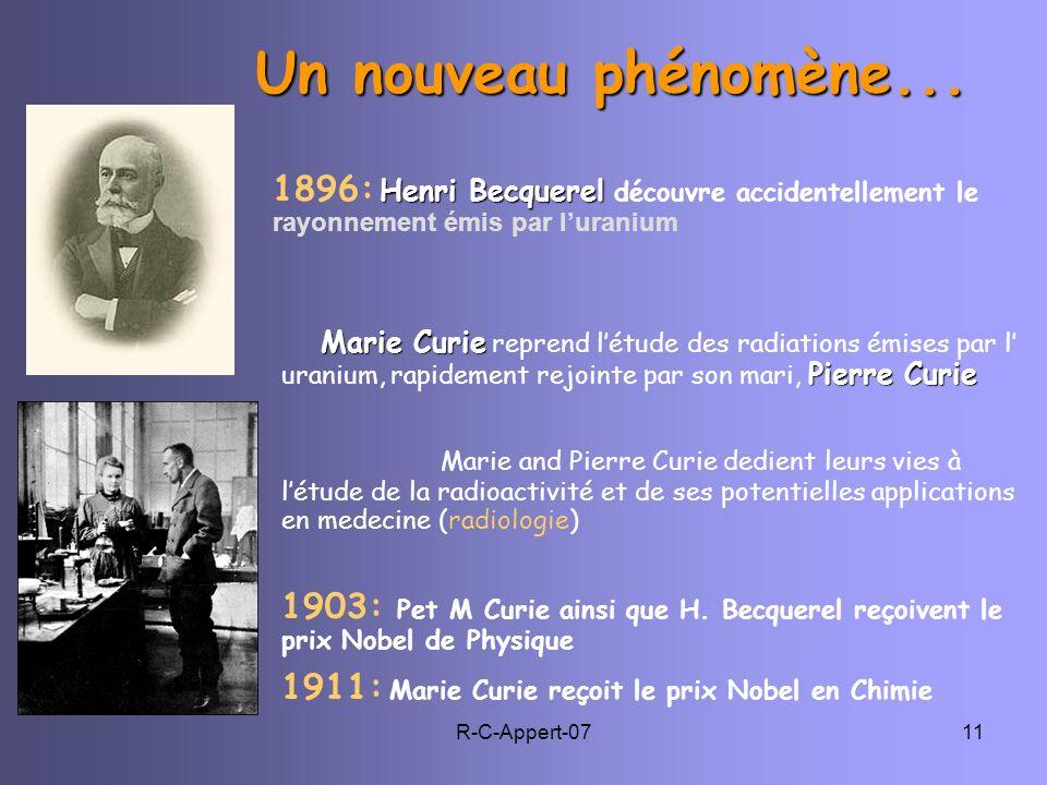 Un nouveau phénomène... 1896: Henri Becquerel découvre accidentellement le rayonnement émis par l'uranium.