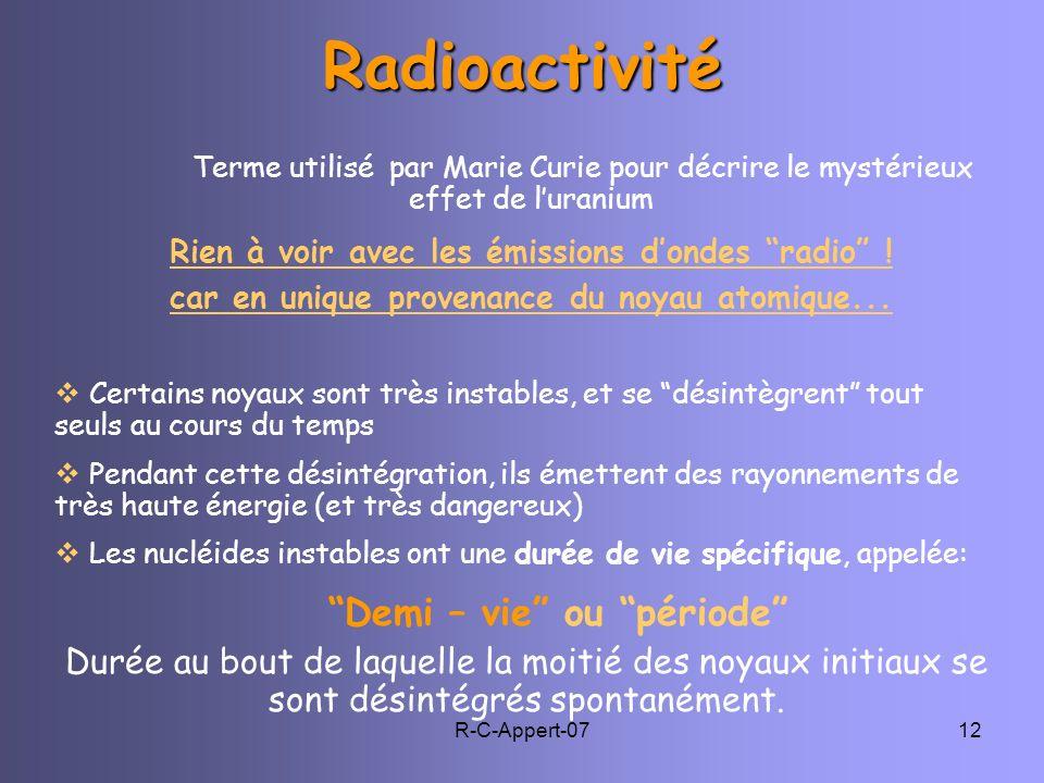 Radioactivité Demi – vie ou période