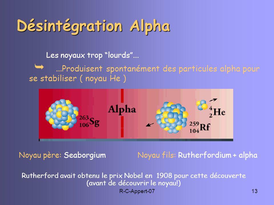 Désintégration Alpha Les noyaux trop lourds ...  ...Produisent spontanément des particules alpha pour se stabiliser ( noyau He )