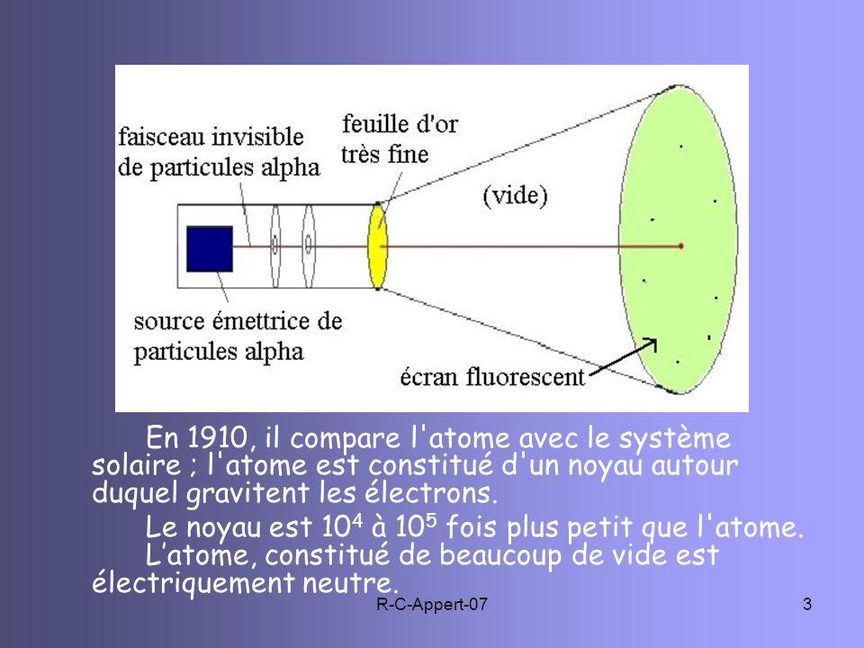 En 1910, il compare l atome avec le système solaire ; l atome est constitué d un noyau autour duquel gravitent les électrons.