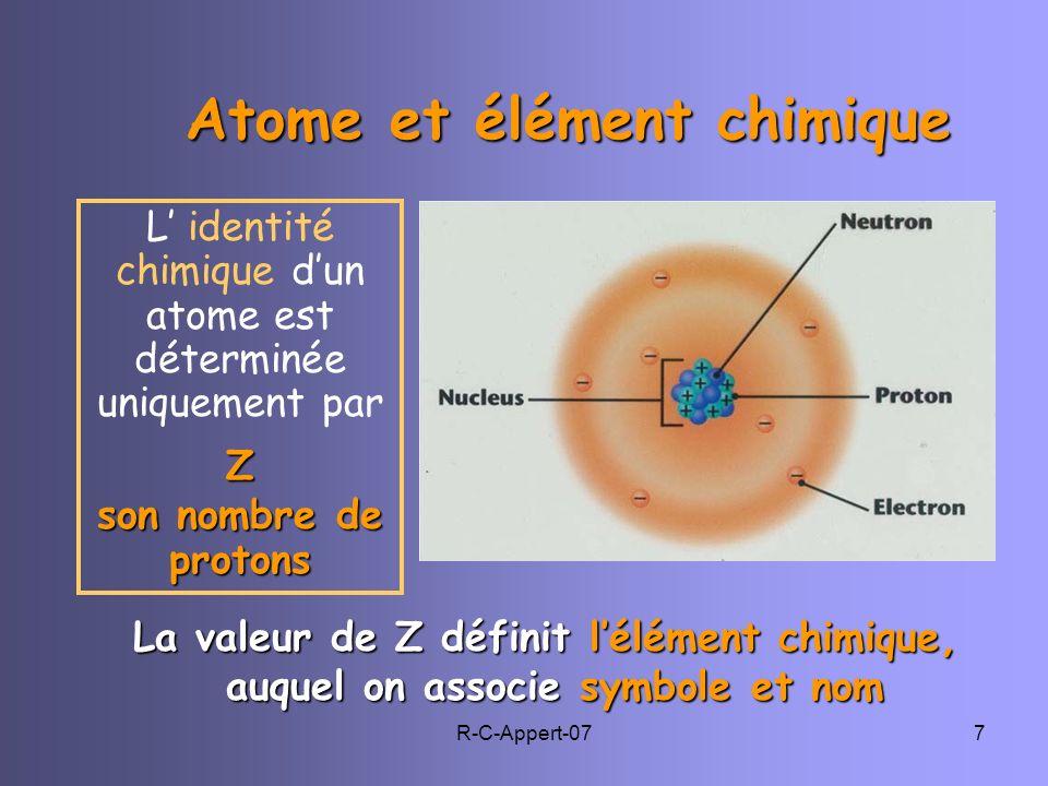 Atome et élément chimique