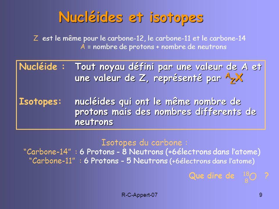 Nucléides et isotopes Z est le même pour le carbone-12, le carbone-11 et le carbone-14. A = nombre de protons + nombre de neutrons.