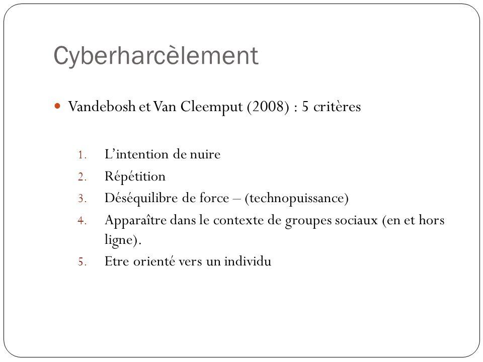 Cyberharcèlement Vandebosh et Van Cleemput (2008) : 5 critères