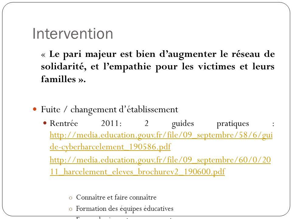 Intervention « Le pari majeur est bien d'augmenter le réseau de solidarité, et l'empathie pour les victimes et leurs familles ».