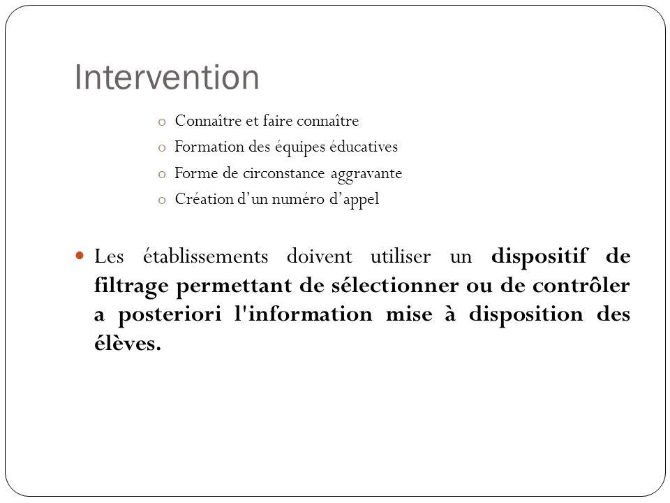 Intervention Connaître et faire connaître. Formation des équipes éducatives. Forme de circonstance aggravante.