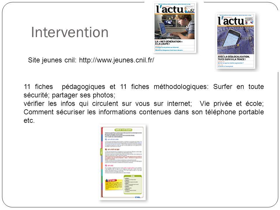 Intervention Site jeunes cnil: http://www.jeunes.cnil.fr/