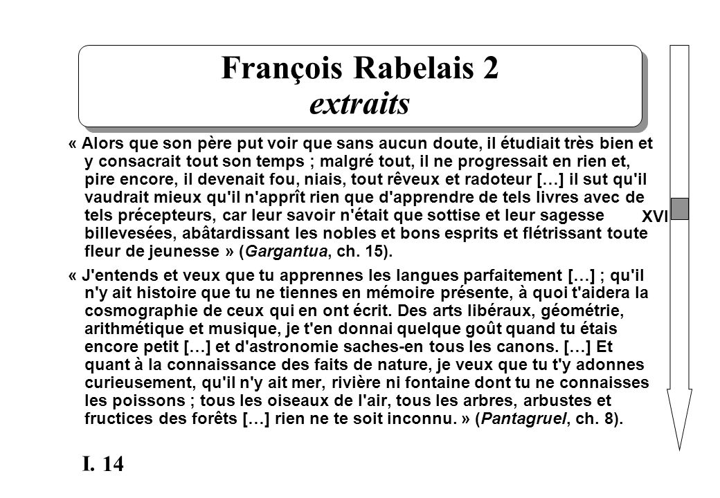 François Rabelais 2 extraits