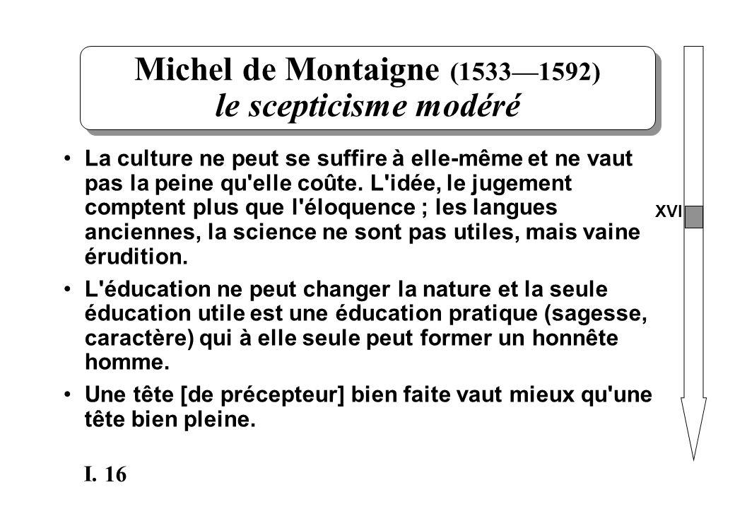 Michel de Montaigne (1533—1592) le scepticisme modéré