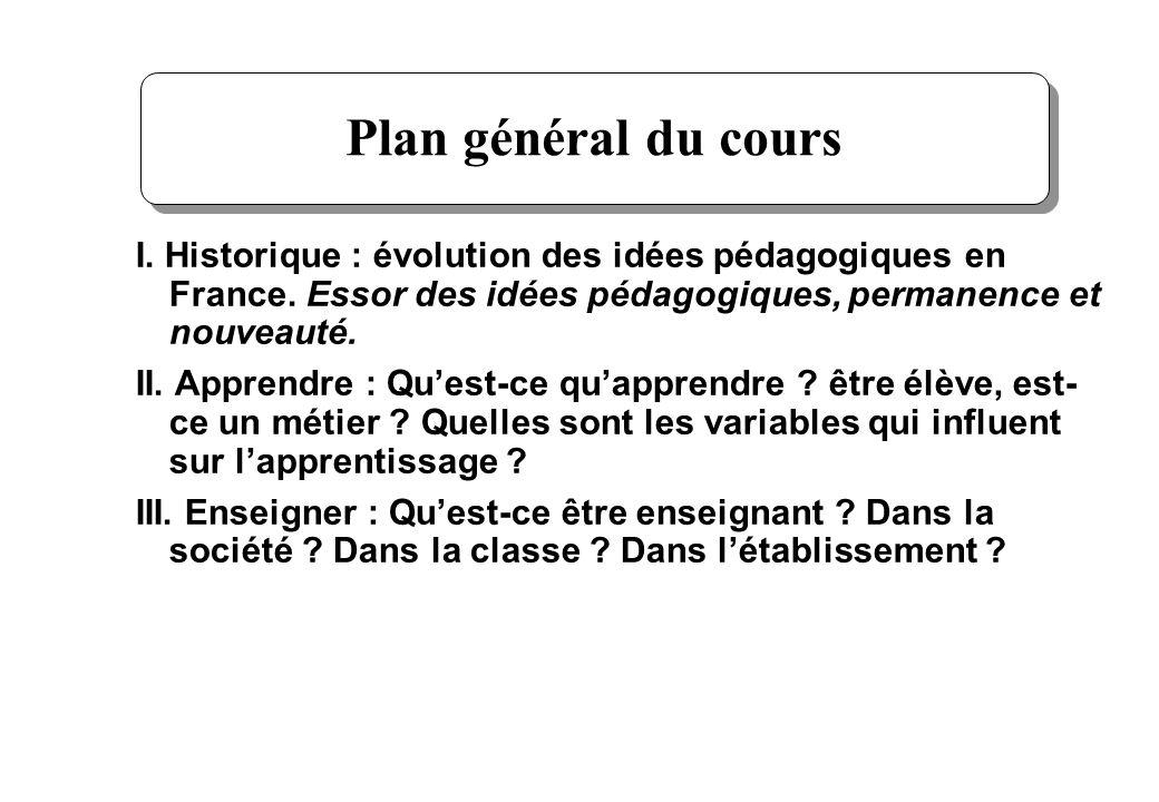 Plan général du coursI. Historique : évolution des idées pédagogiques en France. Essor des idées pédagogiques, permanence et nouveauté.