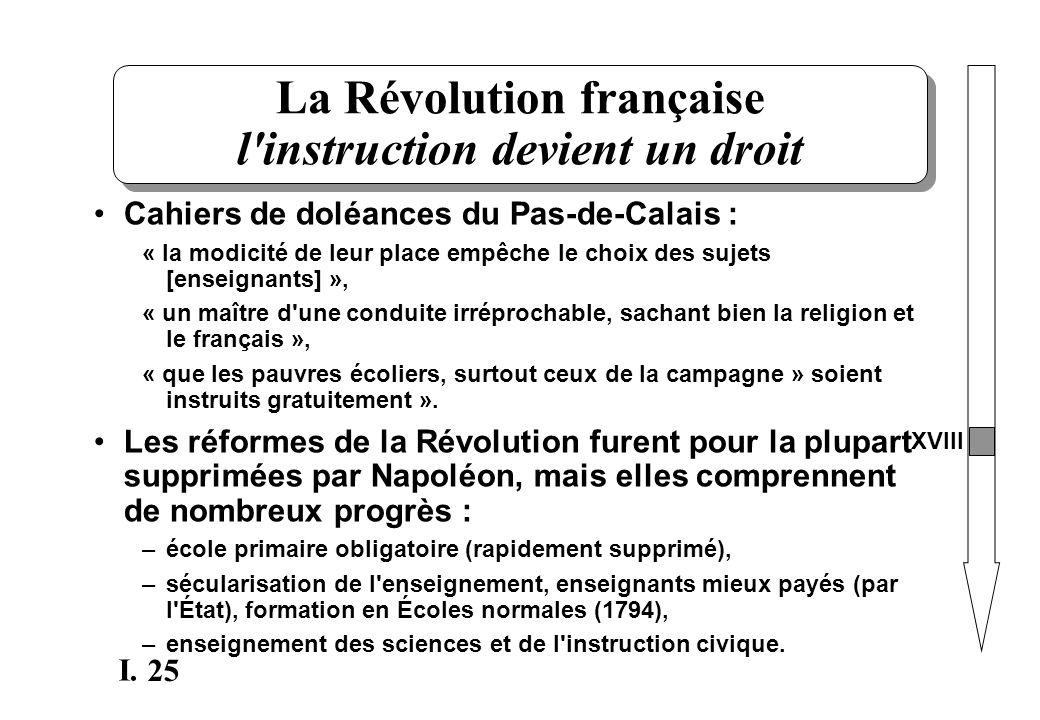 La Révolution française l instruction devient un droit