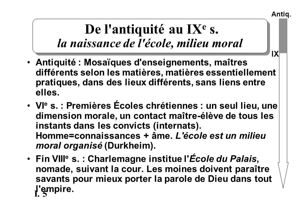 De l antiquité au IXe s. la naissance de l école, milieu moral