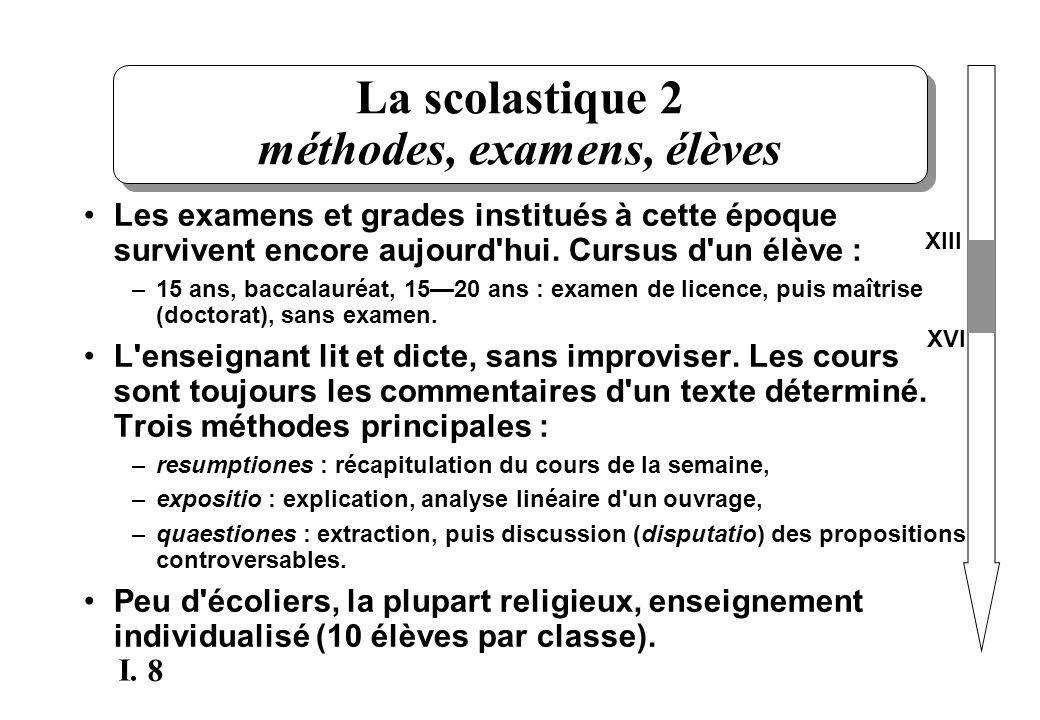 La scolastique 2 méthodes, examens, élèves