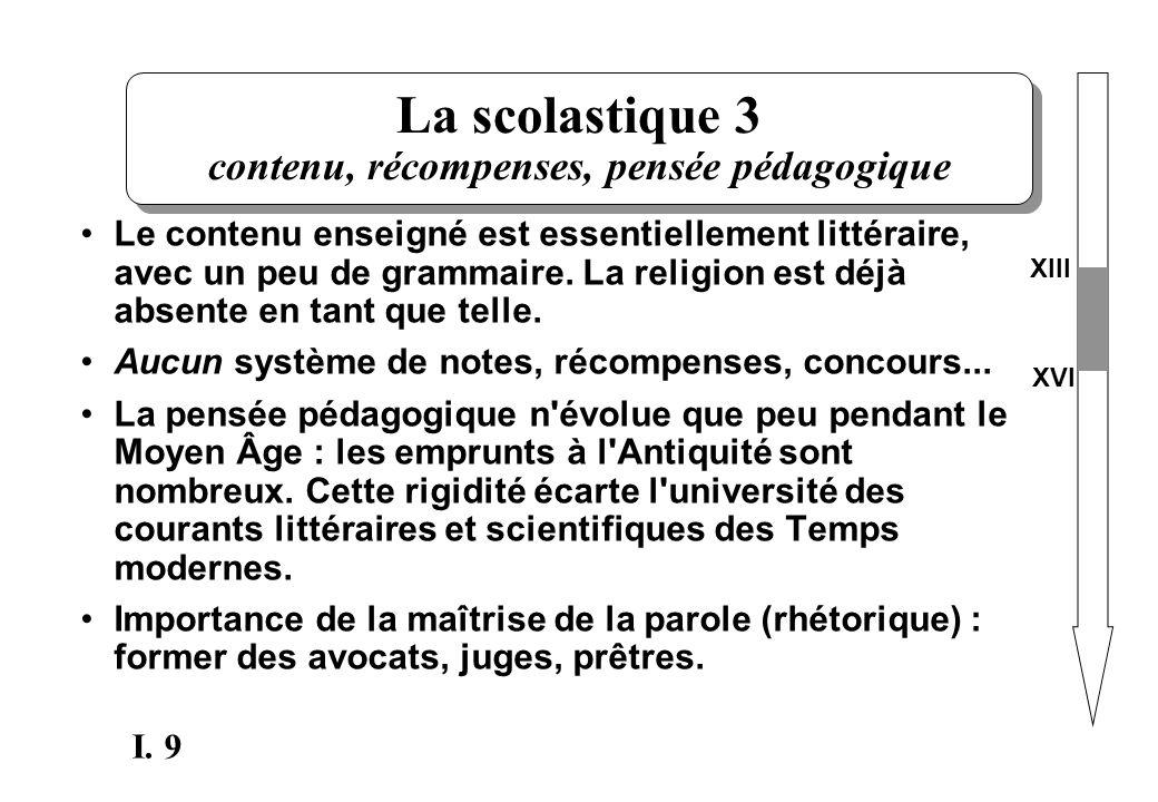 La scolastique 3 contenu, récompenses, pensée pédagogique