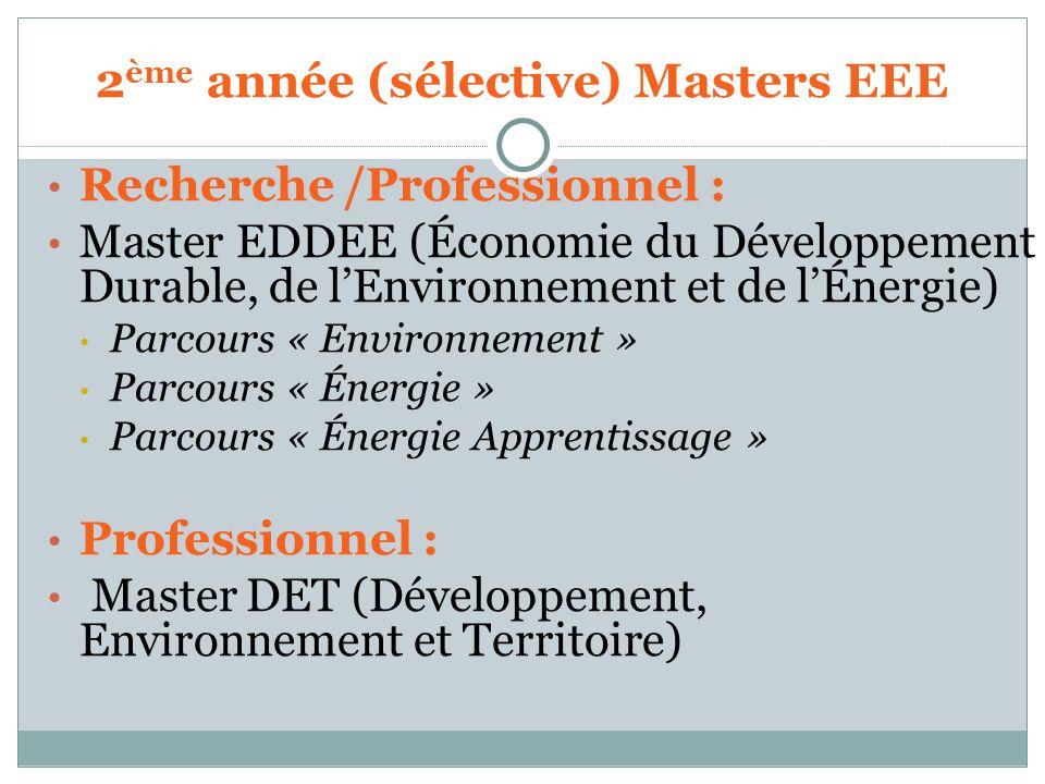 2ème année (sélective) Masters EEE