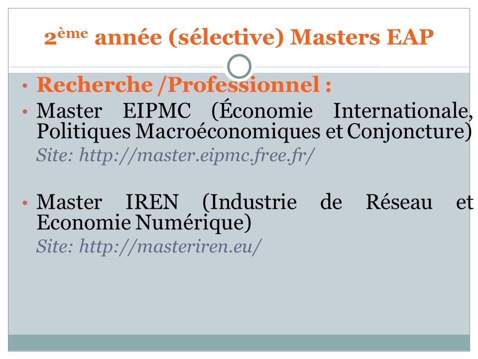 2ème année (sélective) Masters EAP