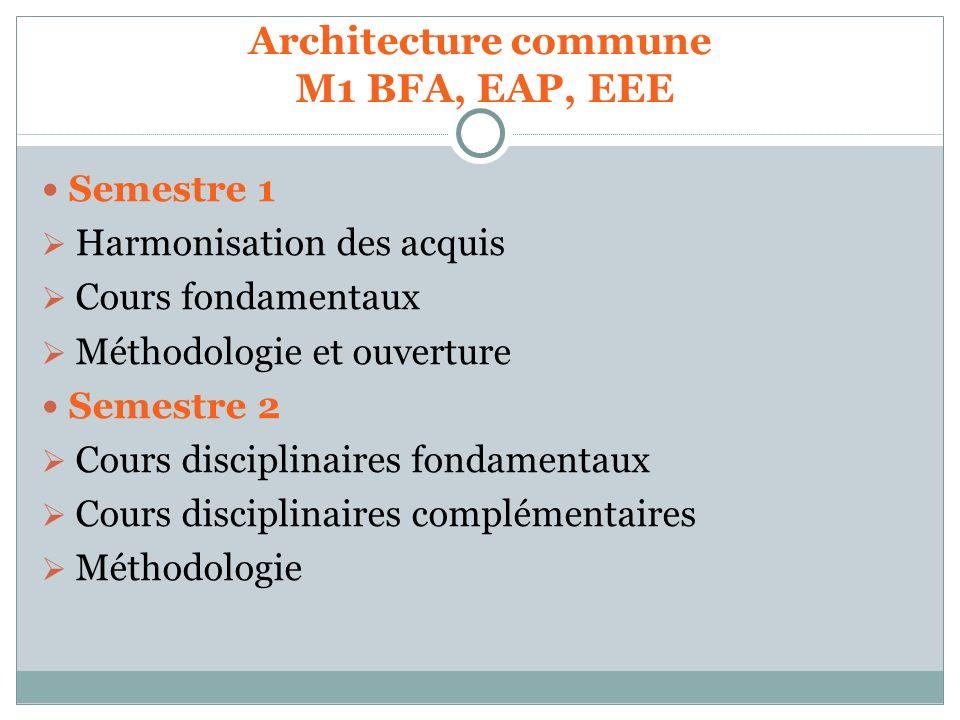 Architecture commune M1 BFA, EAP, EEE