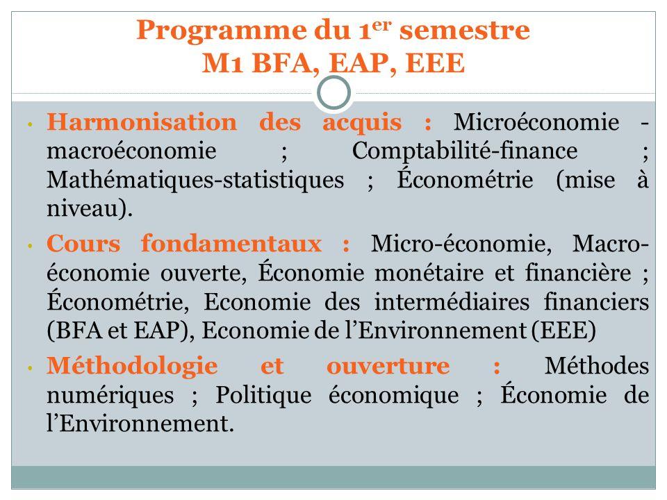 Programme du 1er semestre M1 BFA, EAP, EEE