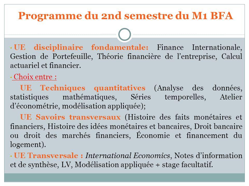Programme du 2nd semestre du M1 BFA