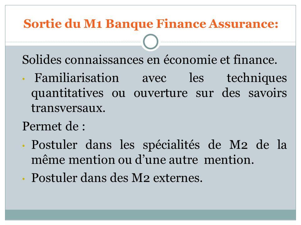Sortie du M1 Banque Finance Assurance: