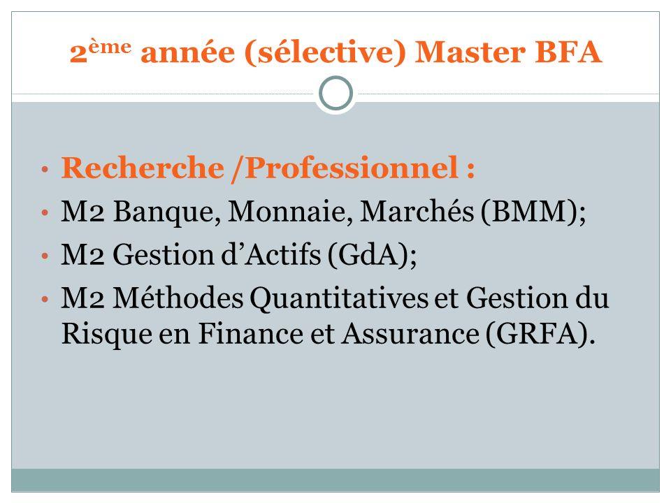 2ème année (sélective) Master BFA