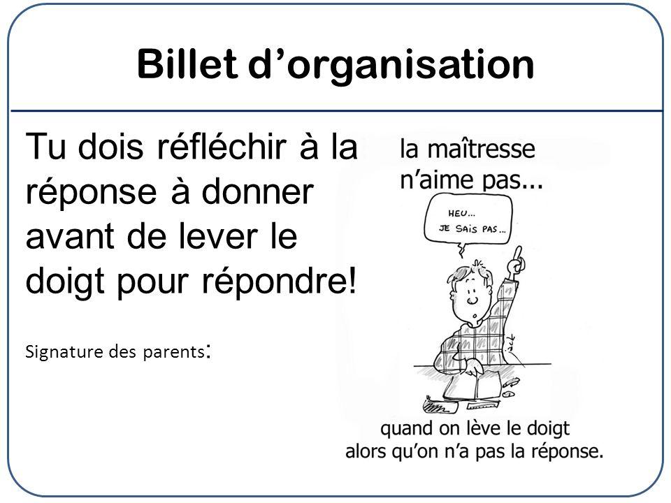 Billet d'organisation