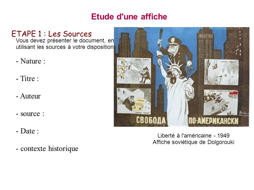 Etude d une affiche ETAPE 1 : Les Sources - Nature : - Titre :