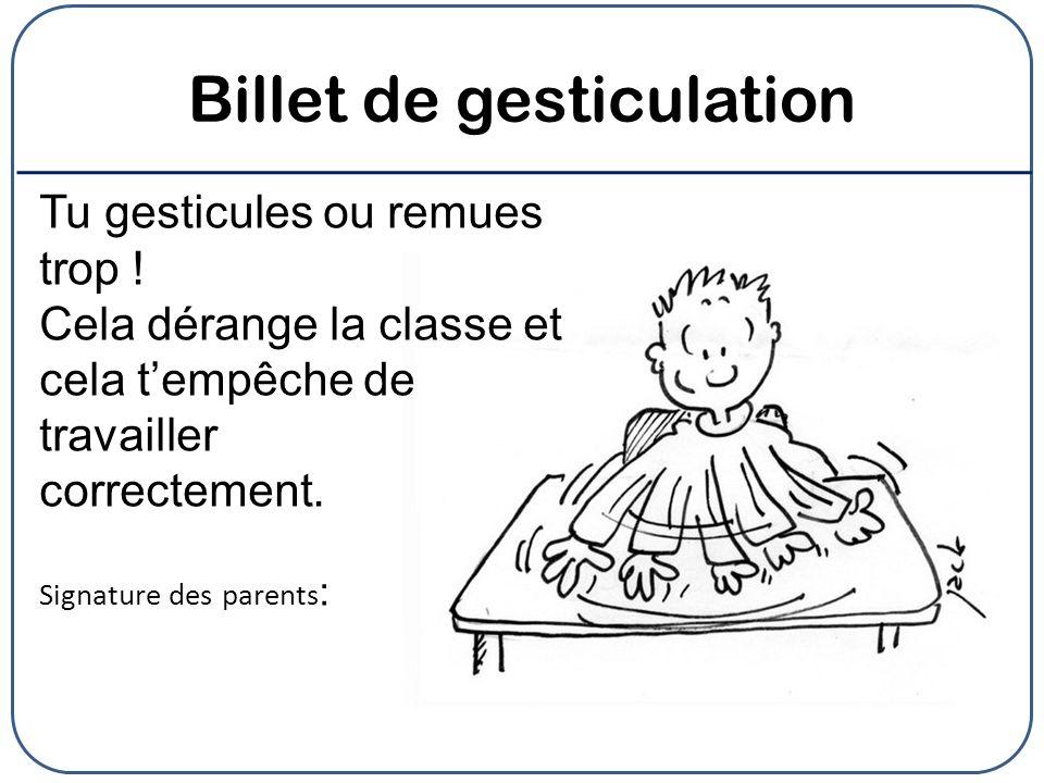Billet de gesticulation