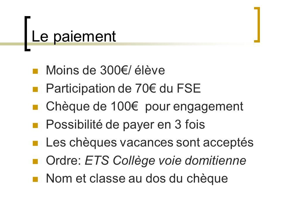 Le paiement Moins de 300€/ élève Participation de 70€ du FSE