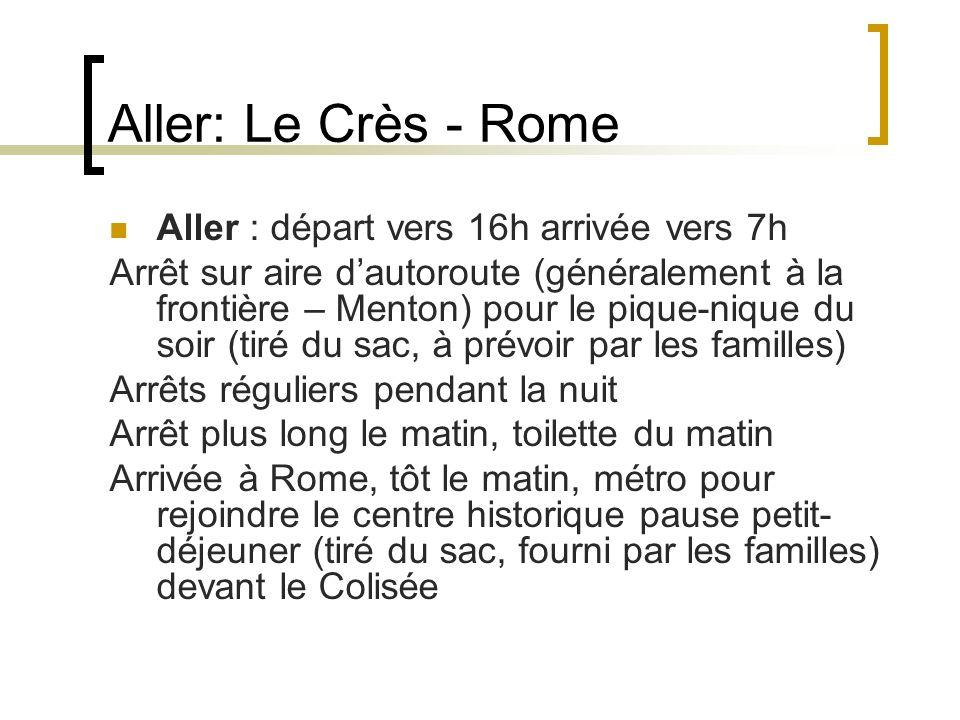 Aller: Le Crès - Rome Aller : départ vers 16h arrivée vers 7h