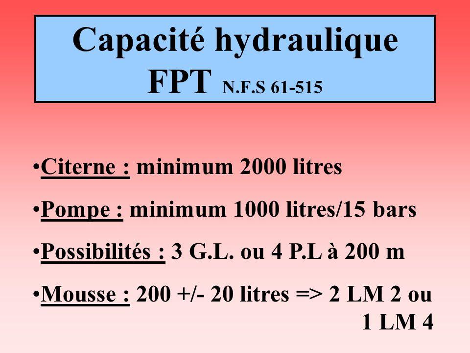 Capacité hydraulique FPT N.F.S 61-515