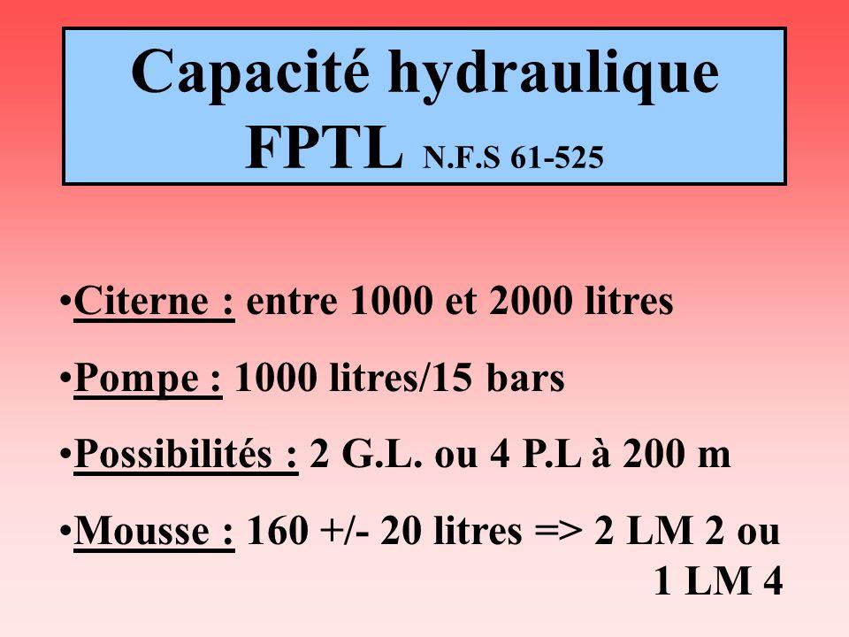 Capacité hydraulique FPTL N.F.S 61-525