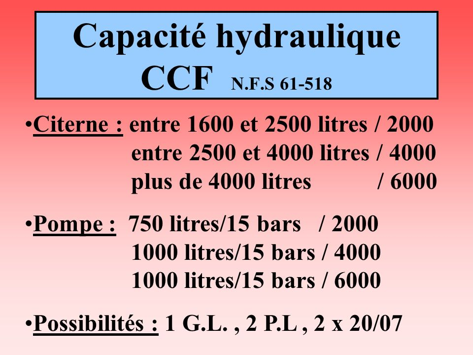 Capacité hydraulique CCF N.F.S 61-518