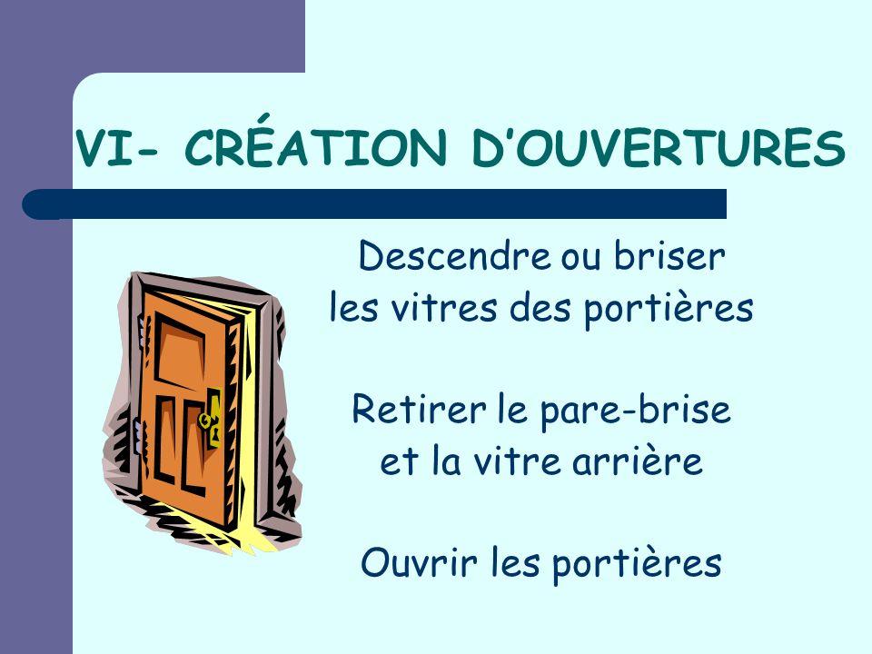 VI- CRÉATION D'OUVERTURES