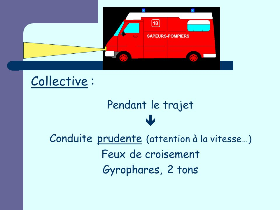 Conduite prudente (attention à la vitesse…)