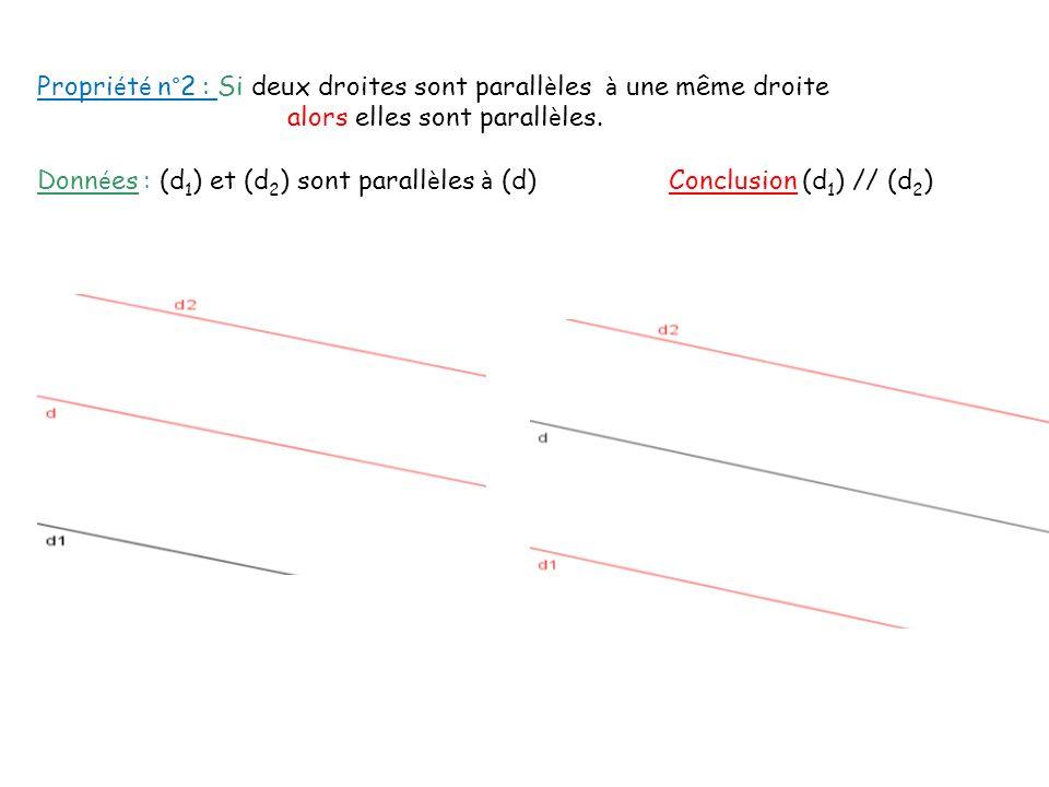 Propriété n°2 : Si deux droites sont parallèles à une même droite