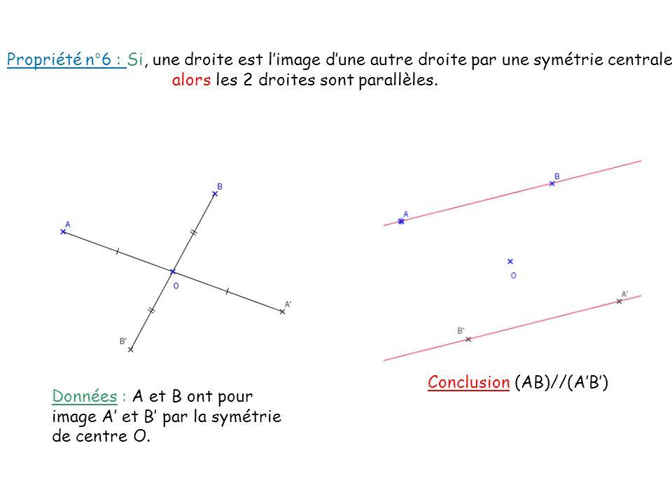 Propriété n°6 : Si, une droite est l'image d'une autre droite par une symétrie centrale alors les 2 droites sont parallèles.