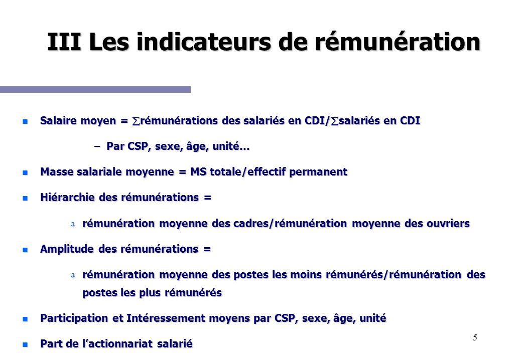 III Les indicateurs de rémunération