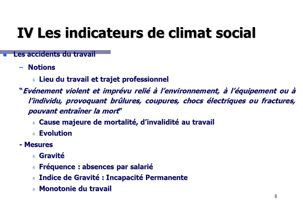 IV Les indicateurs de climat social