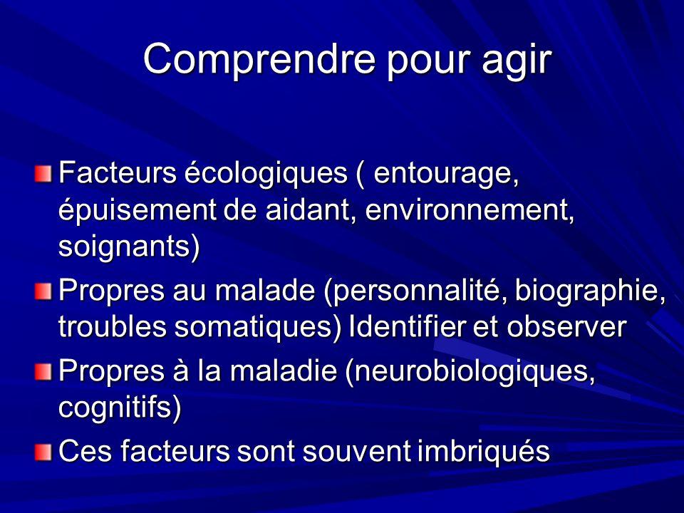 Comprendre pour agir Facteurs écologiques ( entourage, épuisement de aidant, environnement, soignants)
