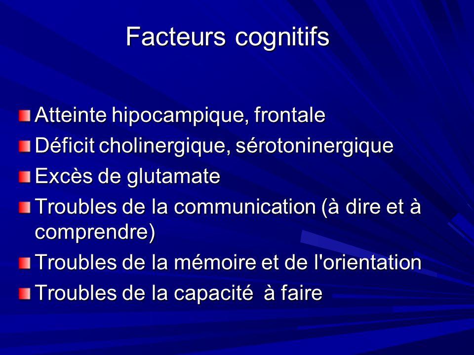 Facteurs cognitifs Atteinte hipocampique, frontale