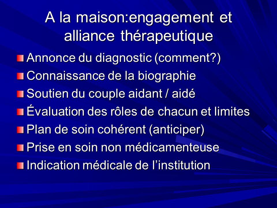 A la maison:engagement et alliance thérapeutique