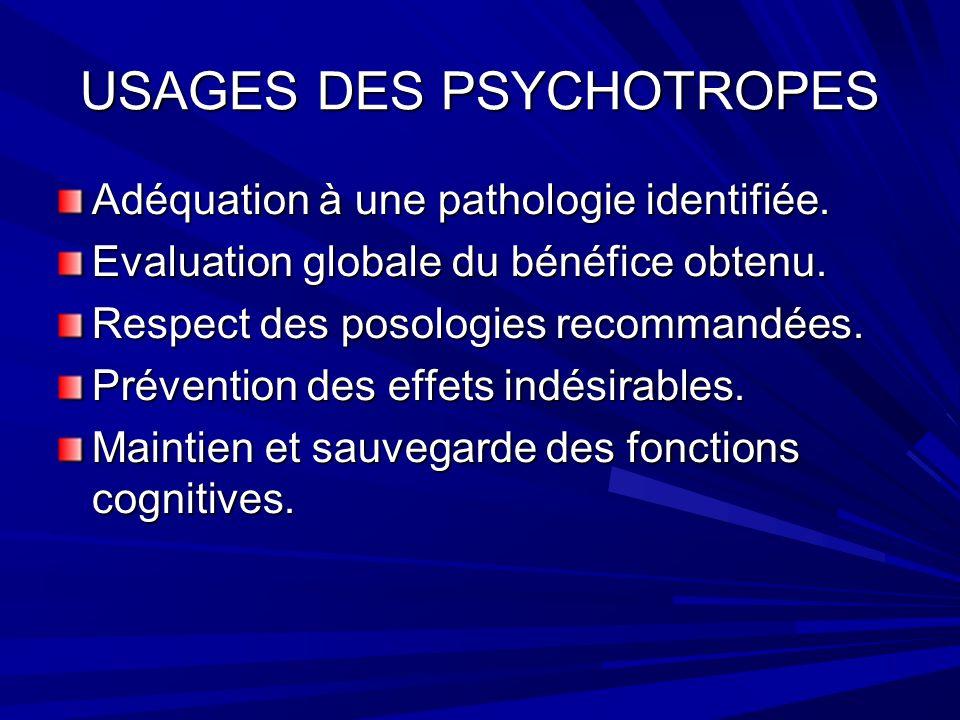 USAGES DES PSYCHOTROPES