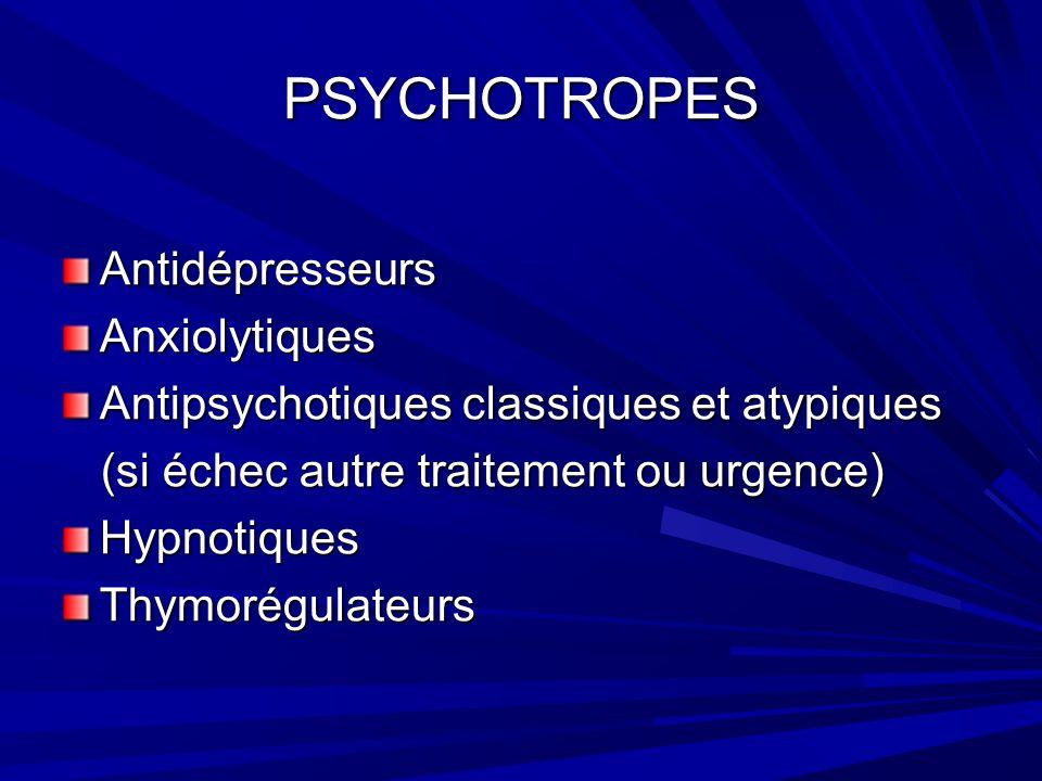 PSYCHOTROPES Antidépresseurs Anxiolytiques